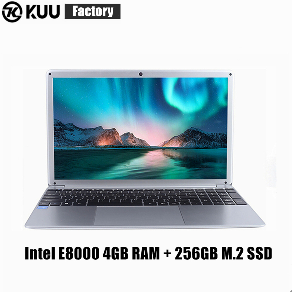KUU YEPBOOK Laptop 15.6 Inch IPS Screen For Intel E8000 Quad Core 256GB M.2 SSD Netbook HDMI WiFi Bluetooth For Office Study