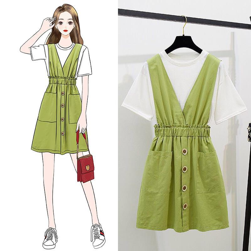 Cute Two-Piece Set Simple Solid Color T-shirt Tops + Green Suspender Strap Skirt Pocket A- Line Full Skirt