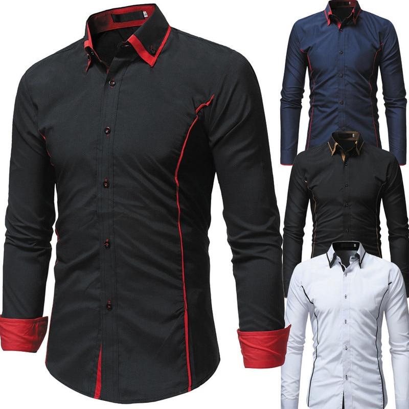 VISADA JAUNA Fashion Slim Fit Men Dress Shirt Long Sleeve Causal Comfortable Slim Fit Shirt For Men Camisa Hombre Manga Larga