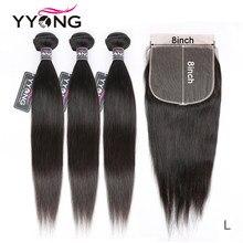 Mèches brésiliennes naturelles Remy – Yyong, cheveux lisses, 8x8, 13x4, avec Frontal Closure, en lot, nouveauté
