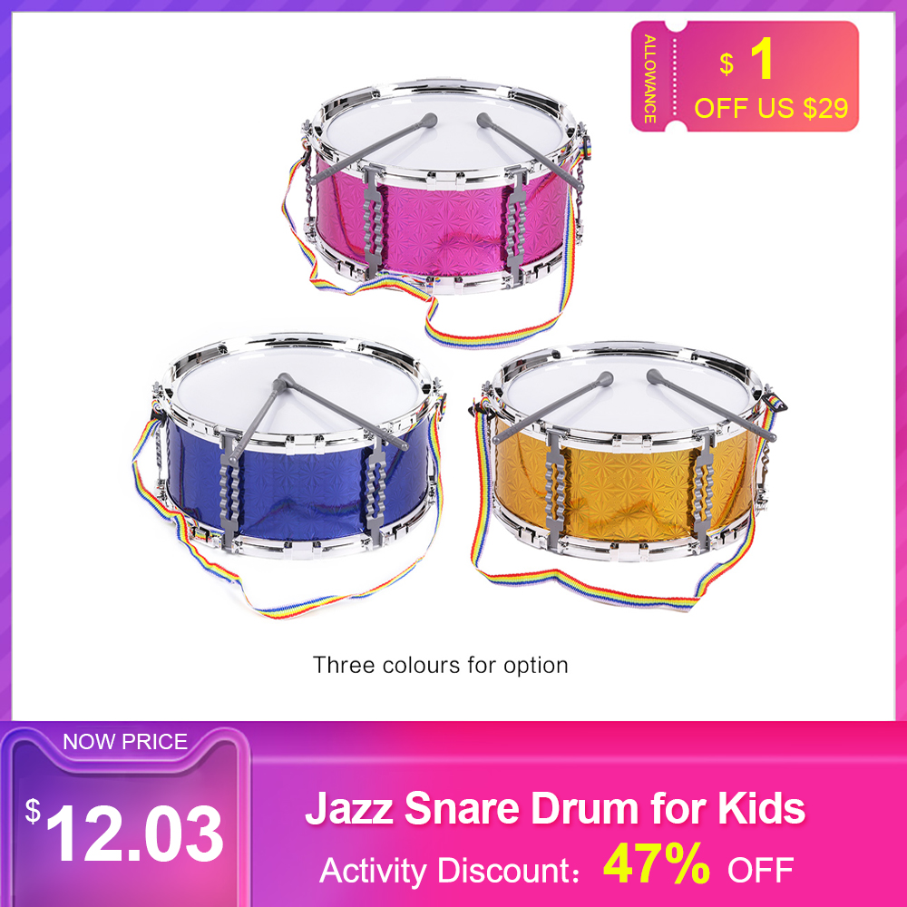 Colorful Jazz Snare Drum Musical Toy Drum Portable Percussion Instrument With Drum Sticks Strap For Children Kids Christmas Gift
