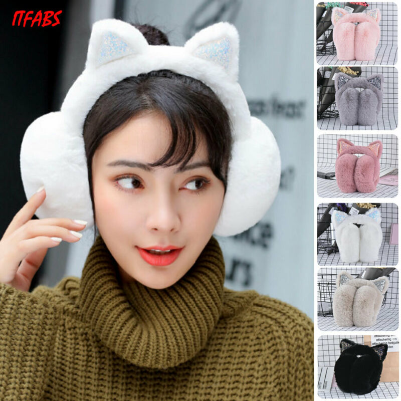 Brand New Women Girl Kawaii Plush Cat Earmuffs Fur Winter Warm Women Ear Protect Cute Faux Soft Fluffy Earcap