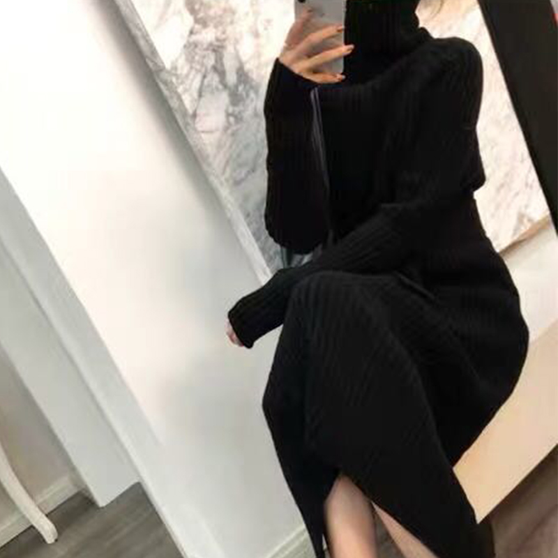 Turtleneck knitted sweater dress ladies fall winter elastic cashmere bottoming shirt midlength over the knee thick sweater dress 10