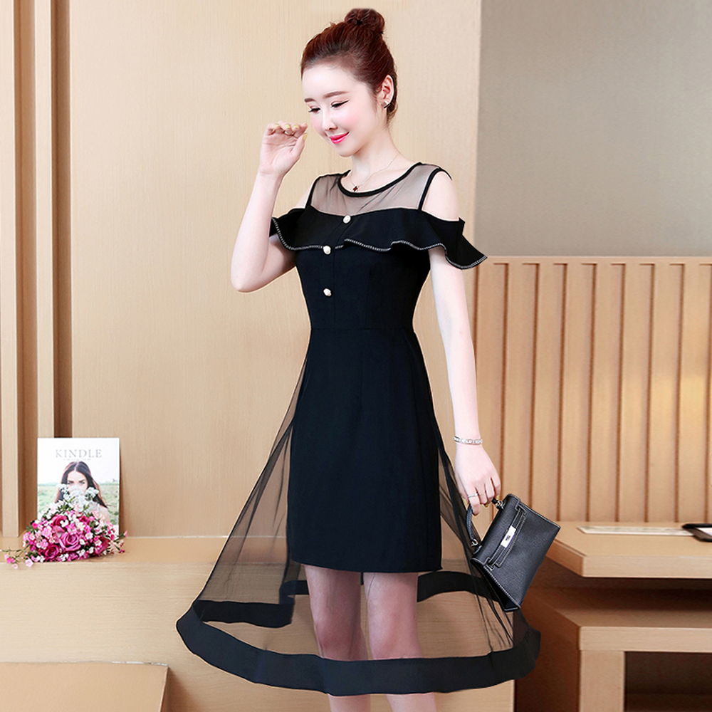 Spring and summer new style Large size L 5XL women 39 s dress Fashion mesh temperament stitching dress in Dresses from Women 39 s Clothing