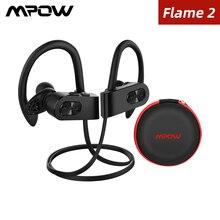 Mpow لهب 2 بلوتوث 5.0 سماعة IPX7 مقاوم للماء سماعة رأس لاسلكية مع 13 ساعة اللعب إلغاء الضوضاء هيئة التصنيع العسكري سماعة أذن تستخدم عند ممارسة الرياضة