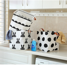 Organizer Cotton Cabinet Desktop-Storage-Box Linen Waterproof Cute Basket Sundries Printing