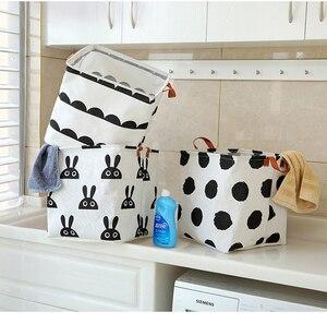 Hot Desktop Storage Box Cute Printing Waterproof Organizer Cotton Linen Sundries Storage Basket Cabinet Sundries Storage Box