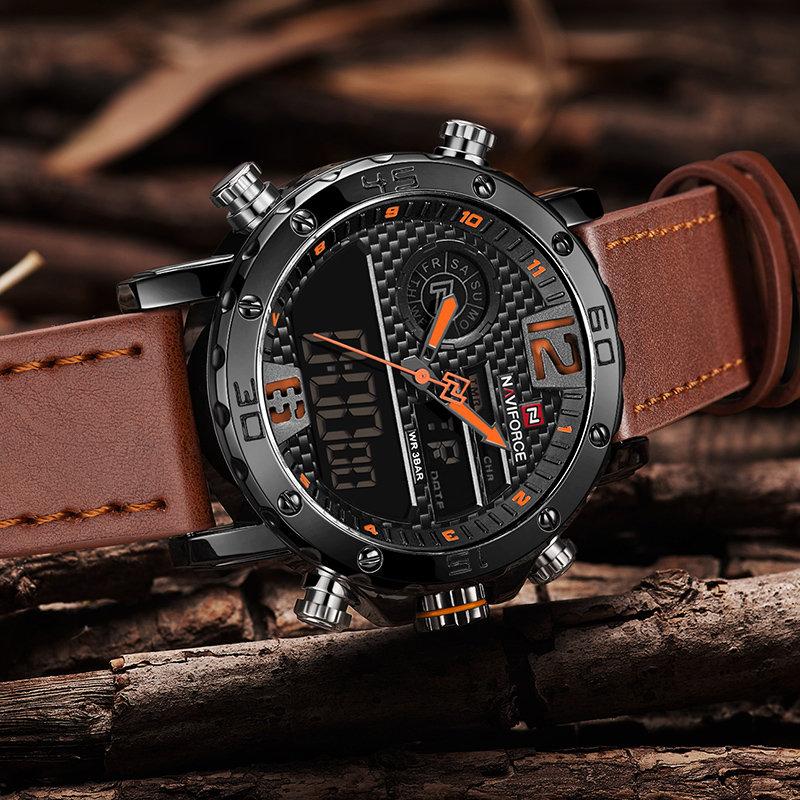 NAVIFORCE Men Watches Top Luxury Brand Men Leather Sport Watch Men's Quartz LED Digital Clock Military Wrist Watch Drop shipping 4