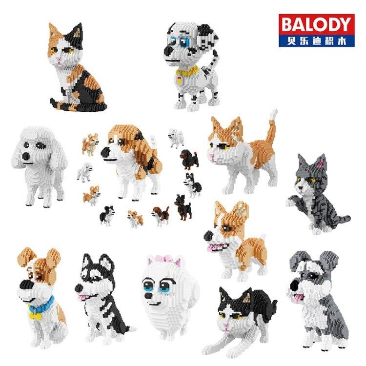 Balody blocos de diamante modelo do cão pequenos tijolos dachshund brinquedo conjunto brinquedos figura ação crianças presentes brinquedos para crianças 16014