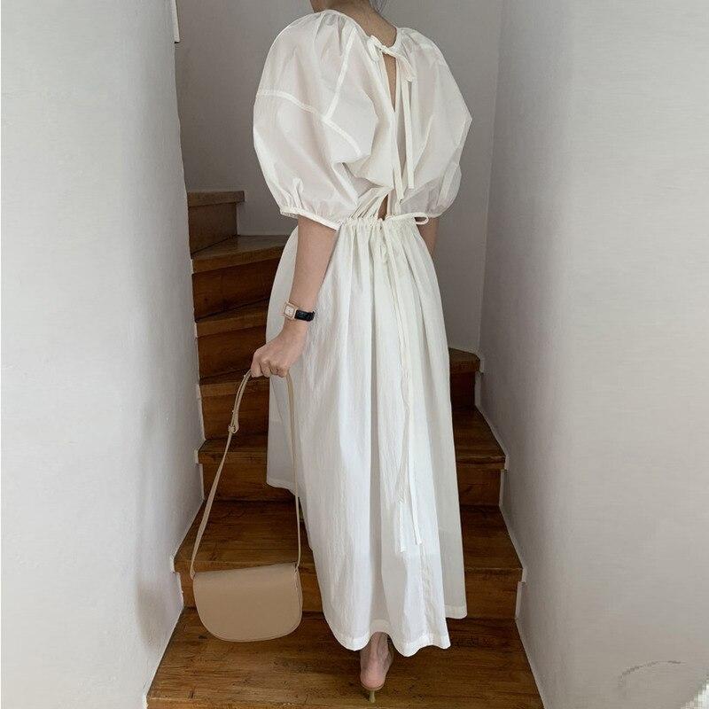 Korean Style Long Dress Women Solid Color Cotton Casual Ladies Dress Summer New 2020 Short Sleeve Women Clothing U542