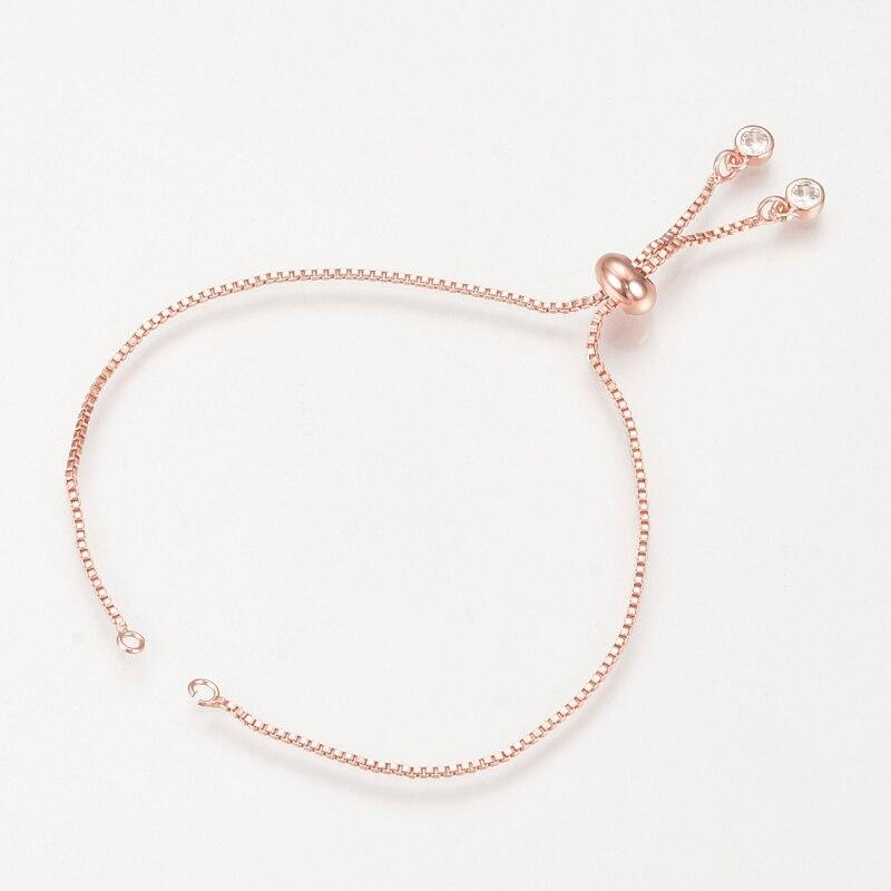 5 шт. Регулируемый 24 см круглые латунные браслеты слайдеры длительный покрытием шарм браслеты-манжеты решений для Для женщин