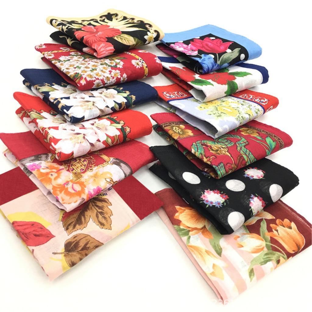 12x Cotton Print Handkerchief WoMen Kerchief Pocket Neckcloth Scarf Grandma Gift