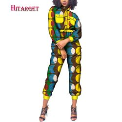 2020 Autumn African Women Cotton Wax Print Jumpsuit African Bazin Riche Loose Jumpsuit Female Dashiki Elegant Jumpsuit WY223