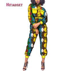 2020 Autunno Delle Donne Del Cotone Della Stampa Della Cera Africano Tuta Africano Bazin Riche Allentato Della Tuta Femminile Dashiki Elegante Tuta WY223