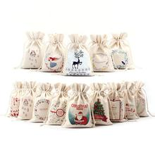 Christmas Wholesale Price Natural Resuable Jute Linen Drawstring Pouch Packaging Gift Bag Logo Printed Jewelry Christmas Bag