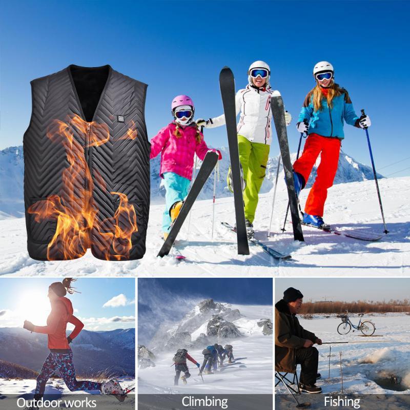 Outdoor USB Infrared Heating Vest Jacket Winter Flexible Electric Thermal Clothing Waistcoat Men Women Smart Fever Heated Vest