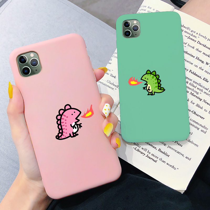 Cartoon Dinosaur Phone Case For Iphone 8 7 6S 8 Plus Cute Couple Dragon Soft Back Cases For Iphone 11 Pro Max X XR XS MAX Cover