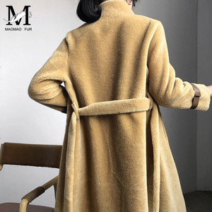 Image 3 - אמיתי כבשים פרווה ארוך מעיל מעיל נשים של חורף חם אמיתי כבשים פרווה מעיל גבירותיי 100% צמר מעיל