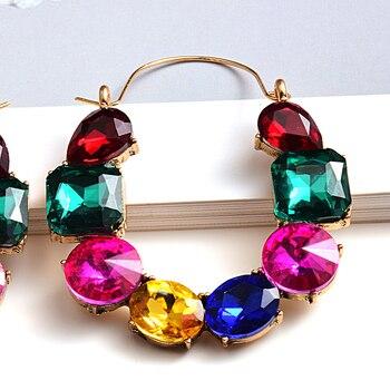 Colorful Rhinestones Crystals Circular Earrings  5