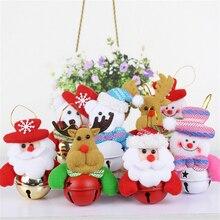 4Pcs Christmas Tree Decorations Bells Hanging Ornaments Santa Claus Snowman Elk Bear Pendants New Year Home Decor