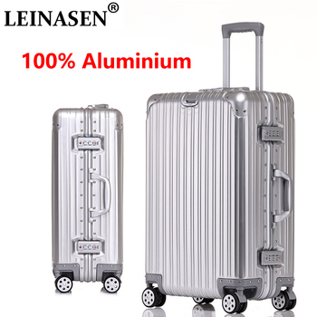 LEINASEN sale 202429 inch 100% aluminium rolling luggage business travel suitcase aluminum spinner trolley bag on wheel sale 100