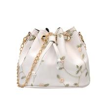 Women Embroidery Faux Leather Crossbody Bags High Quality Shoulder Messenger Bucket Bag Designer Mini Handbags Lady Purse PU faux pearl detail pu bucket bag