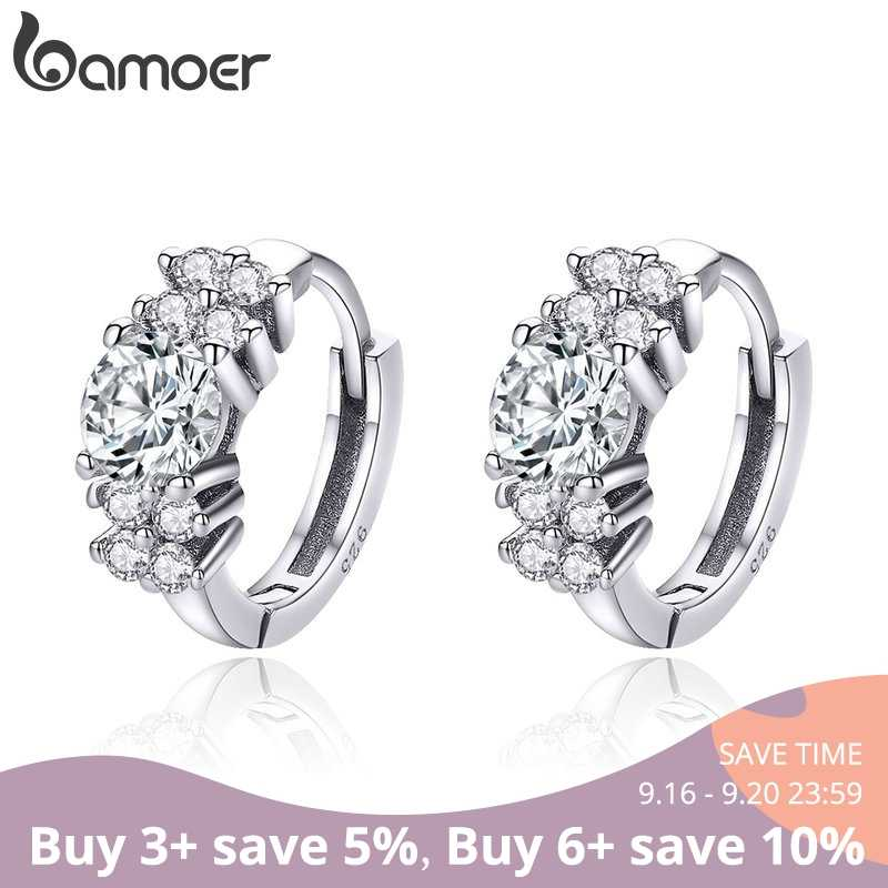 BAMOER 925 Sterling Silver Crystal Round Circle Clear Cubic Zircon Hoop Earrings for Women Sterling Silver Jewelry SCE485