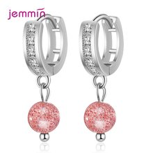 New Arrival Women Fashion Earring 925 Sterling Silver Pink Strawberry Crystals Natural Stone Tassel Drop Earrings Girls Gifts(China)