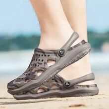 цены New Summer Men Sandals 2020 Men Beach Shoes Hollow Slippers Hole Breathable Flip Flops Non slip Garden Sandals Clogs Outside