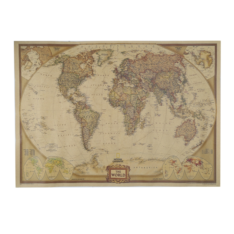 Vintage Retro Matte Kraft Paper World Map Antique Poster Wall Sticker Home Decor AXYF