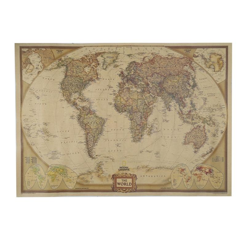 Vintage Retro Matte Kraft Paper World Map Antique Poster Wall Sticker Home Decor AXYF
