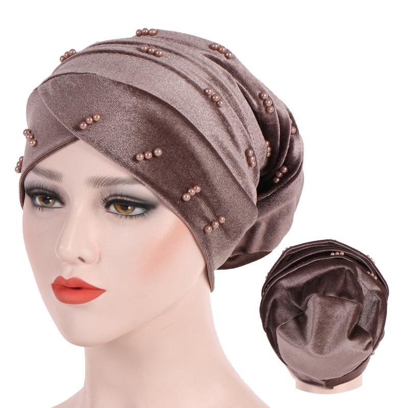 Pearl Velvet Inner Hijab Caps Muslim Headdress Women Turban Femme Musulman Soft Solid Color Turbante Ready To Wear Hijab Bonnet