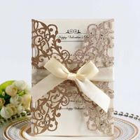 100pcs/set Hollow Powder Thanksgiving Invitation Card Greeting Card Gift Cards with Bow Wedding Birthday Party Supply
