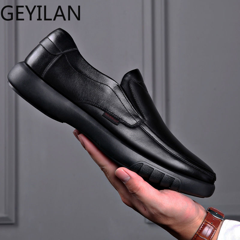 Loafers Men's Genuine Leather Shoes Slip On Wedding Party Comfortable Shoes Soft Anti-slip Rubber Man Casual Dress Shoes