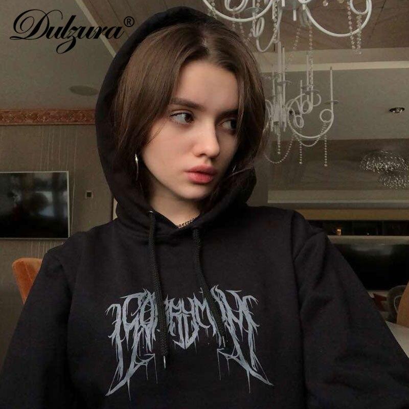 Dulzura 2019 Autumn Winter Women Sweatshirt Hoodies Patchwork Streetwear Clothes Crop Top Loose Casual Print Punk Gothic