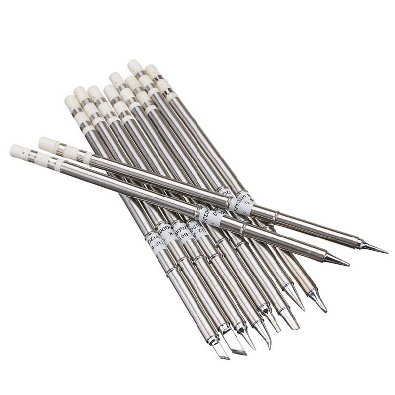 Tools : Drillpro 10pcs T12 Soldering Iron Tips Set Soldering Alloy Iron Tips Lead-free Solder Tips Welding Head Soldering Tools 155mm
