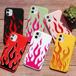 PUNQZY Artistic Personality Flame TPU Soft Phone Case For Samsung A50 A70 S20 S10 S11 S8 S9 S20U Fire Pattern Back Cover Shell