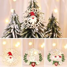 Christmas Wooden Wreath Pendant For Hotels Restaurants Snowflake Tree Decoration Animated Music Lights