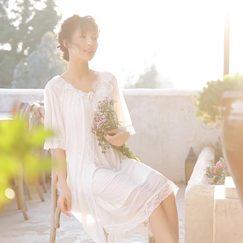 QWEEK Sexy Nightwear Woman Robe Nightgown Lace Nightdress Sleevelss Night Wear Sexy Sleepwear Summer V Neck Nightgowns