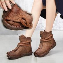 Г.; женские зимние теплые ботинки ручной работы из натуральной кожи на низком каблуке; женские короткие ботинки; мотоциклетные ботинки; botas WA7672