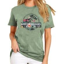 A mãe é uma caminhada no parque engraçado dinossauro impresso camisetas femininas mãe vida gráfico tshirt causal tumblr camisa verde
