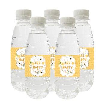 10 sztuk/partia Happy Bee Day Party Decoration naklejki na butelki wody tatuś/mamusia być płeć ujawnić długie naklejki etykiety