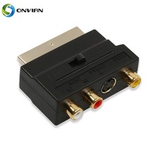 Onvian 20 Pins Scart Male Plug To 3 RCA Female AV TV Audio S-Video Video Adaptor Connector Converter IN цена