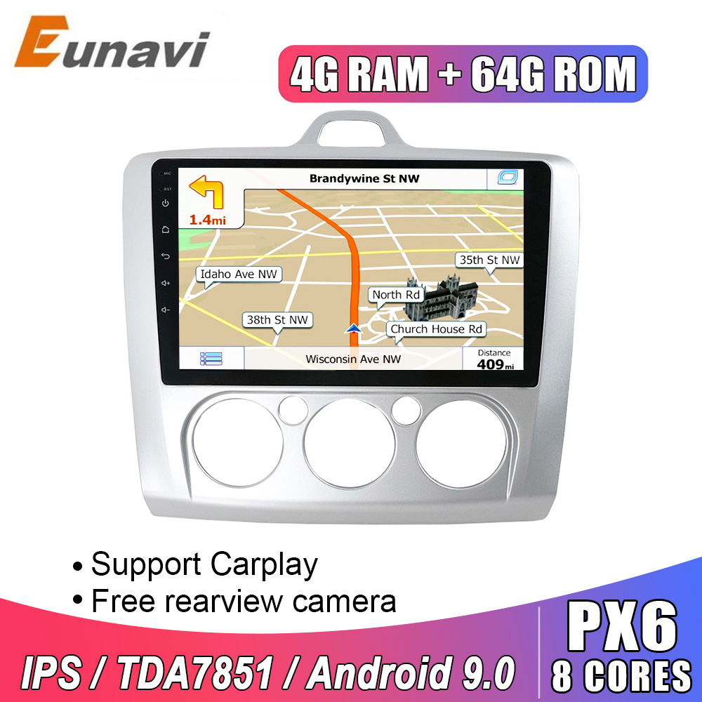 Eunavi 2 din 9 inch Android 9 Car Radio Multimedia Player <font><b>GPS</b></font> Navigation For <font><b>Ford</b></font> <font><b>focus</b></font> 2 2004-2011 2din stereo headunit IPS BT image