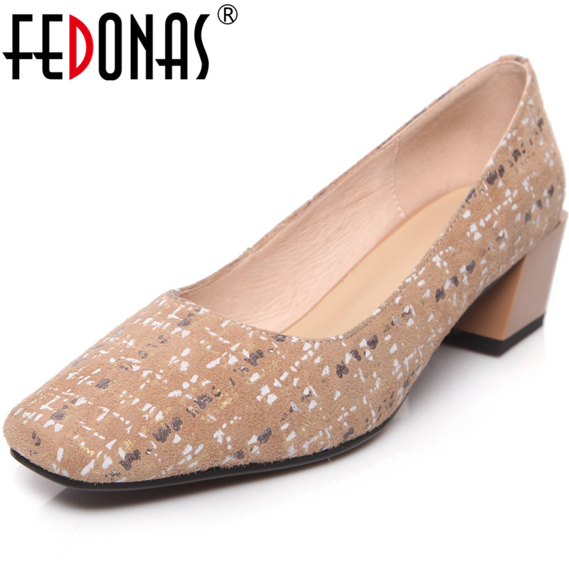 FEDONAS 2020 Classic Women High Square Suede Leather Basic Pumps Spring Summer Square Toe Shoes Fashion New Shoes Woman