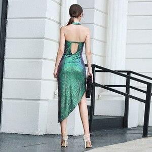 Image 3 - Robe à bandes Sexy, sans manches, moulante, boîte de nuit, robe de soirée, célébrité, nouvelle collection, été 2020