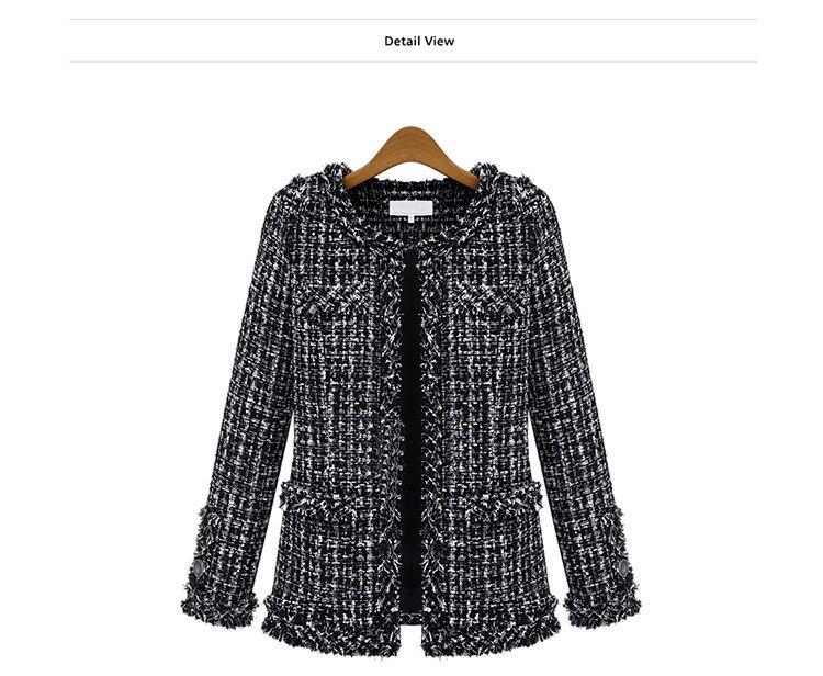 Autumn Winter Coat Women 2019 Plus Size Elegant Long Sleeve Plaid Jackets Female Vintage Oversize Tassel Tweed Wool Blends Black 53