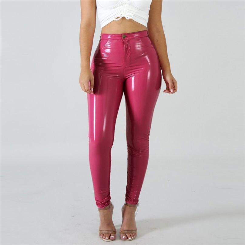 Women High Waist Solid Zipper Leggings Stretch Pants Trouser