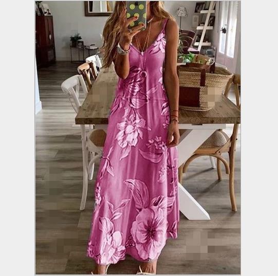 Summer Women Dress 2019 Vintage Floral Beach Long Dress Sundress Blue Flower Print Sleeveless Adjustable Spaghetti Straps Dress