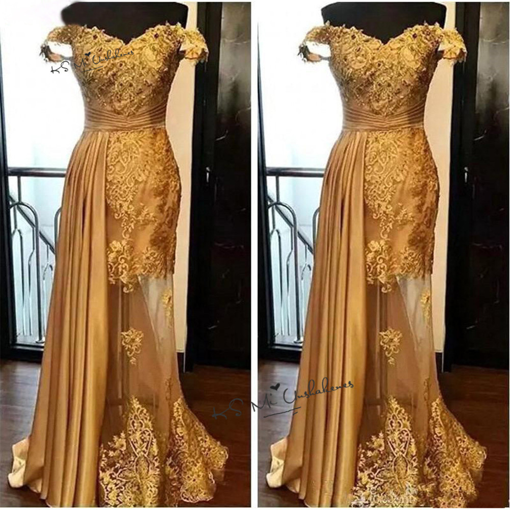 Sexy Gold Lace Long Evening Dresses Cap Sleeve Applique 2020 Prom Party Dress See Through Robe De Soiree Special Occasion Gowns